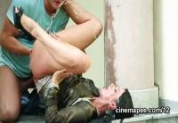 Celine Noiret gets wet in outdoors piss sex scene on the steps