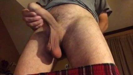 Jerking off Uncut Cock Hanging Balls